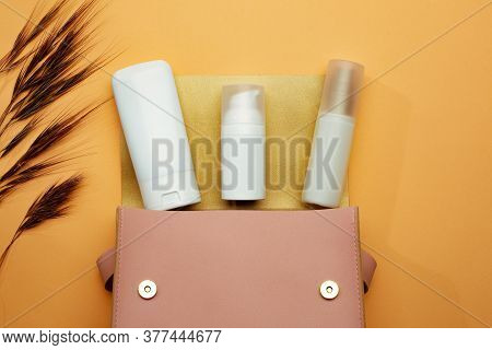 Cosmetic Bag With Cosmetic Tubes, Advise Which Products Better To Use For Healthy Skin. Skin Care On
