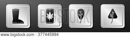 Set Waterproof Rubber Boot, Leaf On Mobile Phone, Leaf Or Leaves And Leaf Or Leaves Icon. Silver Squ
