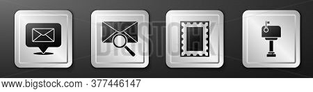 Set Speech Bubble With Envelope, Envelope With Magnifying Glass, Postal Stamp And Mail Box Icon. Sil