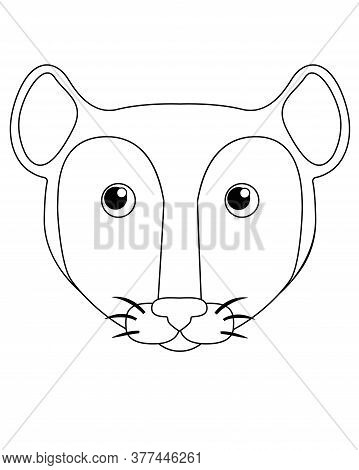 Cute Mouse Or Rat - Vector Linear Picture For Coloring. Mouse Face - For Coloring Book. Rat Head. Ou