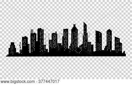 City Silhouette. Modern Urban Landscape. Cityscape Buildings Silhouette On Transparent Background. C