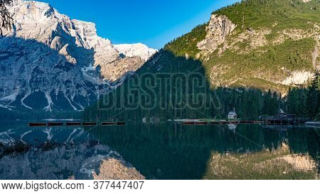 Mountain Landscape With Reflections On The Braies Lake In Val Pusteria, South Tyrol Dolomites