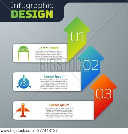 Set Aviator Hat With Goggles, Plane Propeller And Plane. Business Infographic Template. Vector