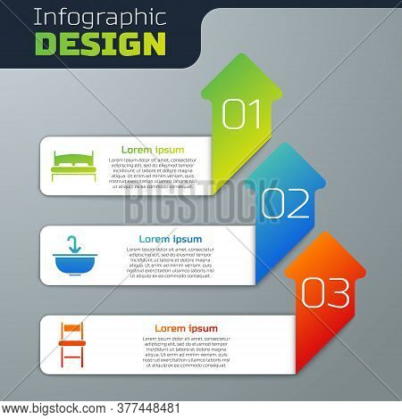 Set Big Bed, Washbasin With Water Tap And Chair. Business Infographic Template. Vector