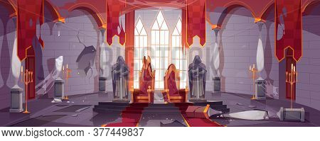 Abandoned Medieval Castle With Gold Royal Thrones. Vector Cartoon Interior Of Old Dirty Palace With