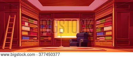 Library With Bookcases, Ladder, Chair And Lamp. Vector Cartoon Empty Interior Of Old Luxury Library