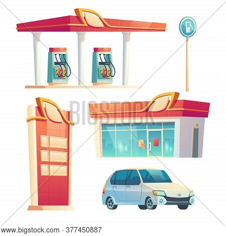 Gas Station Refueling Service Items Car, Building With Glass Facade, Price Display, Pump Hoses, Vehi