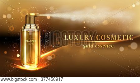 Mist Spray Cosmetic Bottle Ad Banner. Gold Cosmetics Tube On Elegant Blurred Background With Golden