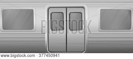 Train Wagon With Windows And Closed Doors. Vector Realistic Background With Glass Windows And Doors