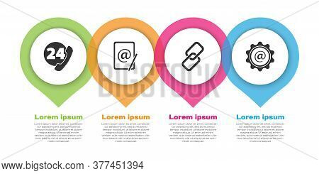 Set Telephone 24 Hours Support, Mail And E-mail, Chain Link And Mail And E-mail. Business Infographi