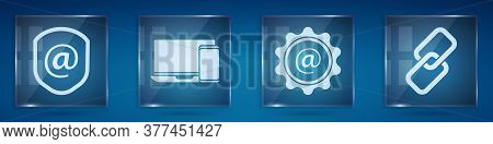 Set Shield With Mail And E-mail, Monitor And Phone, Mail And E-mail And Chain Link. Square Glass Pan