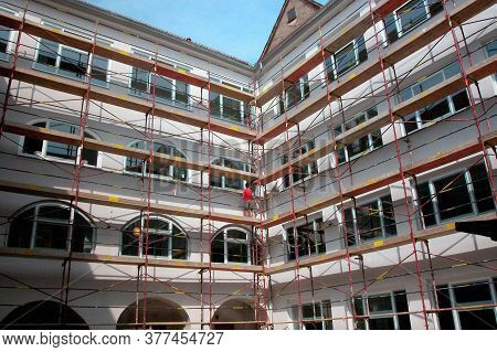 Scaffolding For Renovation Of Old Buildings, Revitalization In Building Industry