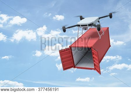 3d Rendering Of Camera Quadcopter Carrying Small Open Empty Red Cargo Container In Blue Sky.