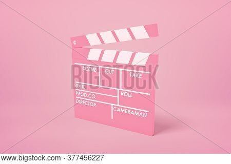 3d Rendering Of Pink Movie Clapper On Pink Background