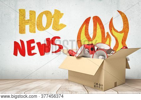 3d Rendering Of Cardboard Box Filled With White Red Megaphones With Hot News Sign On White Wooden Fl
