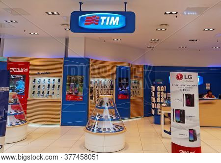 Rome, Italy - September 3, 2015. Tim Shop In Rome, Italy. Telecom Italia Mobile, Also Known As Tim,