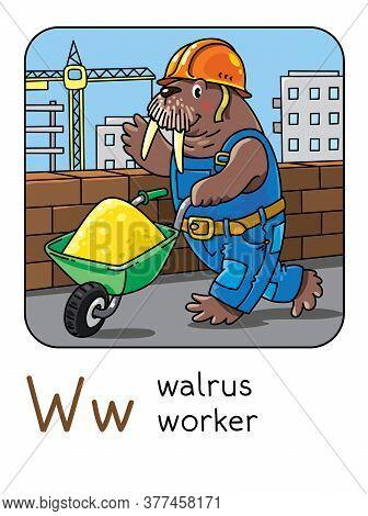Walrus Worker. Alphabet W. Animals Professions Abc