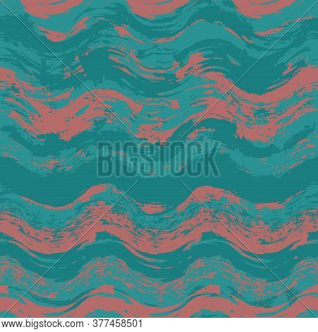 Watercolor Wavy Strips Isolated On White. Seamless Pattern Striped Tablecloth For Textile Print. Gru