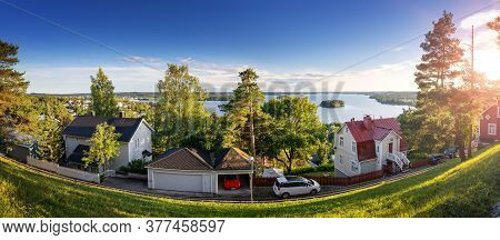 Pispala Area In Tampere, Finland On Beautiful Sunny Evening With View To Lake Pyhajarvi