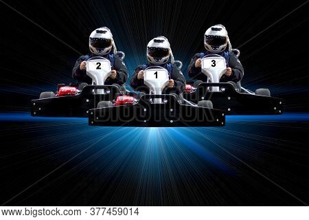 Go Kart Indoor, Cart Racing Fast, Car Where Gokarting, We Speed Racing, Racers Banner. Three Riders