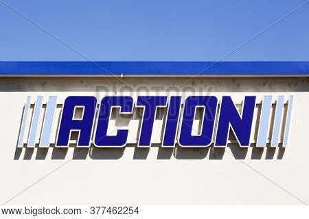Tarare, France - May 31, 2020: Action Logo On A Wall. Action Is An, Originally Dutch, International