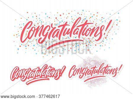 Congratulations. Greeting Banners Set. Vector Hand Drawn Illustration.
