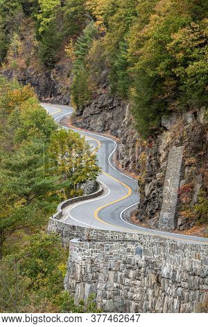 A Curvy Stretch Of Highway, Known As Hawk's Nest, Along The Delaware River At Hawk's Nest Near Port