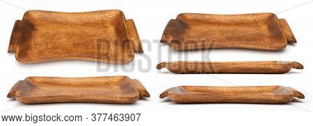 Wooden Trays For Breakfast Isolated On White. Set Of Wood Trays In Different Angles Shots In Collage