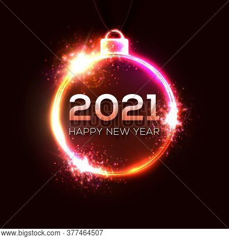Happy New Year 2021. Technology Glowing Neon Light Xmas Decoration With Particle Star Sparkle. Elect