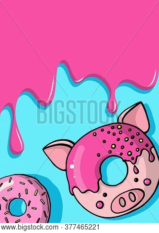 Glazed Cute Doughnut Animal. Donuts Card With Glaze And Bite, Eaten Chocolate Icing Fritters Or Cara