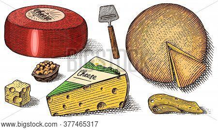 Cheese Set. Slices Of Bleu De Gex Edam Camembert Mozzarella For Market Or Grocery Store. Cheeseboard