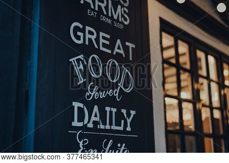 Great Food Served Daily Sign Outside Traditional English Pub In Stow On The Wold, Cotswolds, Uk, In