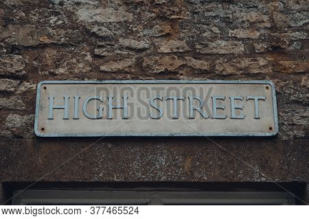 Close Up Of A Street Name Side On A Limestone Building On High Street In Stow On The Wold, Cotswolds