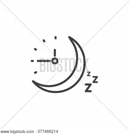 Sleep Time Clock Icon. Countdown Future Day Night Time Vector Icon