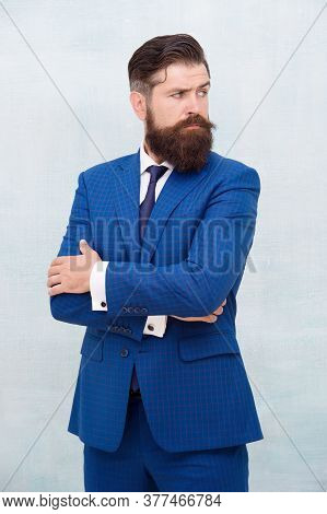 Hair Salon And Barbershop. Business Casual Style. Giving Man Confidence. Senior Employee Blue Suit.