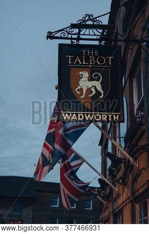 Stow-on-the-wold, Uk - July 6, 2020: Sign Outside The Talbot Pub In Stow-on-the-wold, A Market Town