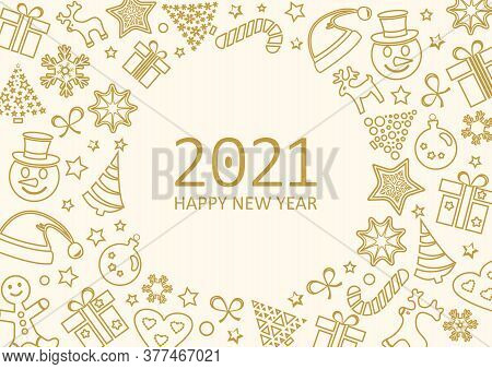 2021 Happy New Year, Christmas Greeting Card, Holiday Background, Golden Banner. Vector Illustration