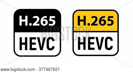 Video Hevc Codec Vector Icon. H 256 Format Video Media Icon