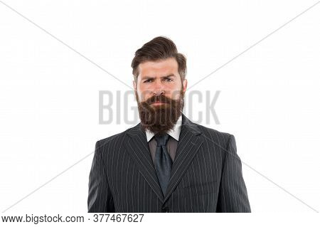 Timeless Tweed Suit. Business Man Wear Suit. Serious Bearded Man. Boss Or Director. Handsome Hipster