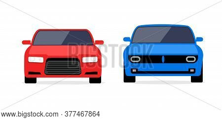 Car Front View Vector Flat Icon. Car Parking Cartoon Front Design Shape
