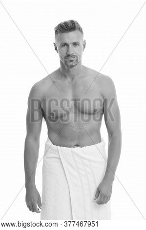 Sexy Me. Sexy Man In Bath Towel. Athletic Guy With Sexy Muscular Torso. Hygiene And Grooming Routine