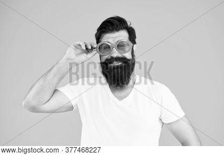 Summer Vacation. Ultraviolet Protection Concept. Man Eyewear Model. Handsome Guy Wear Sunglasses. Hi