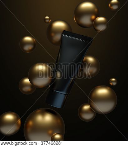 Mockup of a black cosmetic tube that is floating in the air surrounded by gold spheres. 3D render
