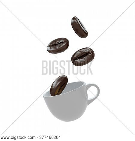 Huge coffee beans are falling into a white cup. Isolated on white. 3D render
