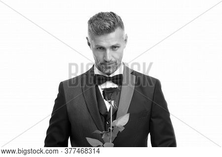 Celebrating Womens Day. Handsome Man Hold Red Rose. Flowers For Womens Day. Bachelor In Formalwear.