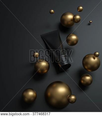 Black cosmetic product mockup - cream tube lies on black surface surrounded by gold spheres. 3D render