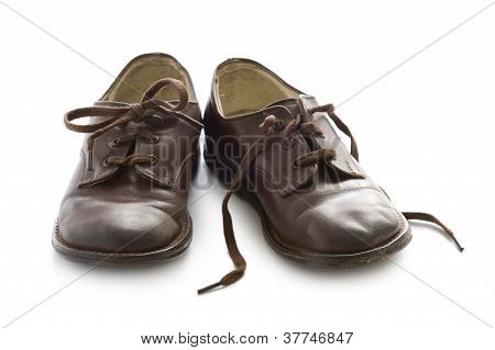 Pair Of Vintage Child Leather Shoes