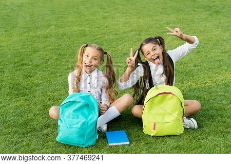 Group Study Outdoors Girls Classmates With Backpacks, Playful Children Concept.