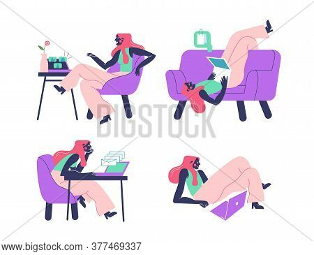 Everyday Life Of A Young Freelancer Woman. She Works With A Laptop, Does Online Shopping And Calls H