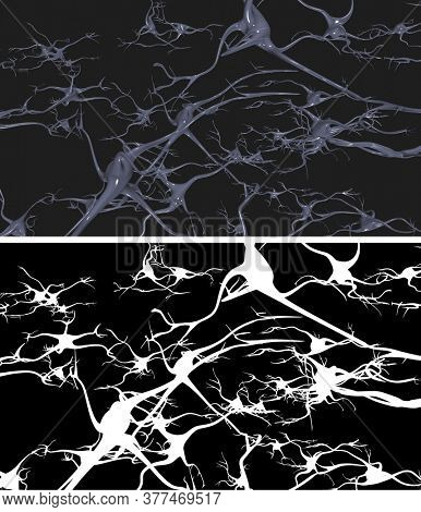 Nerve cells with alpha mask for easy extraction. 3D rendering